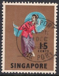 Singapore 1968 - 73 QE2 15 ct Tari Payong Dancer  SG 106.( K1019 )