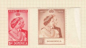 DOMINICA # 114-115 VF-MH KGV1 1948 SILVER WEDDING ISSUE