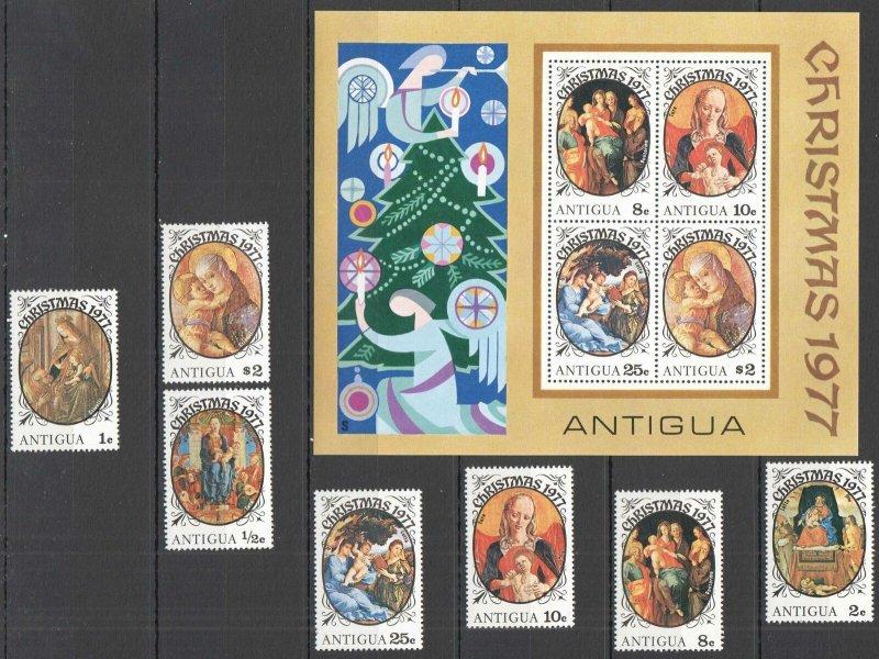 E0985 ANTIGUA & BARBUDA ART PAINTINGS CHRISTMAS 1977 #479-85 SET+KB MNH