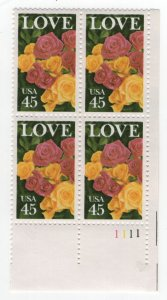 US, 2379, MNH, PLATE BLOCK, 1988, LOVE ISSUE (ROSES)