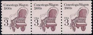 #2252S 3 cent Conestoga Wagon Plate Strip Stamp mint OG NH XF+ XXF