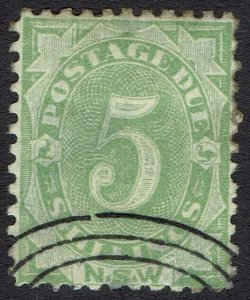 NEW SOUTH WALES 1891 POSTAGE DUE 5/- PERF 11 CTO WITH GUM