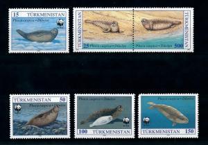 [99605] Turkmenistan 1993 Marine Life Seals WWF  MNH