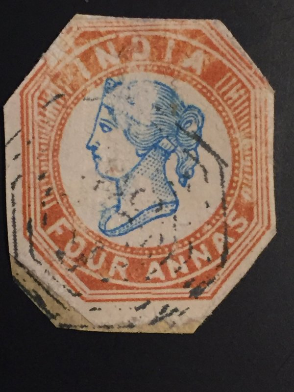 British India 1854 blue & red 4 four annas a fine used  ,world stamps #ref. bin