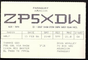QSL QSO RADIO CARD Paraguay,Asuncion/ZP5XDW/Doug Woolley, (Q1885)