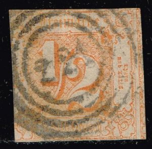 GERMANY STAMP Thurn and Taxis 1862 Colored Print on White  1/2 SGR IMPERF