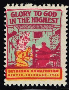 US STAMP CHRISTIAN LABEL STAMP GLORY TO THE GOD IN THE HIGHEST