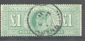 1902   S.G:266 - KING EDWARD VII - £1 DULL BLUE GREEN -  USED