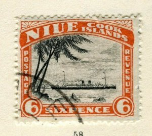 NIUE; 1932 early pictorial issue used Wmk 6d. value
