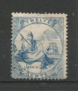"""LIBERIA, 1866, used 12c """"Liberia"""" Scott 14"""