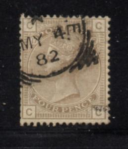 Great Britain Sc 84 1878 4d gray brown Victoria stamp used
