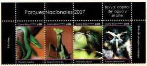 Costa Rica #609 Strip of 4 MNH - National Parks Snake Mantis Birds Owl (2007)