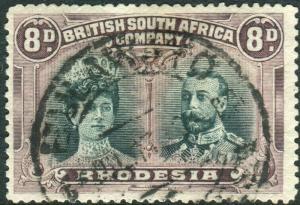 RHODESIA-1910-13 8d Greenish Black & Purple.  A fine used example Sg 148