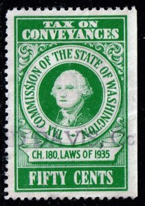 US TAX STAMP STATE OF WASHINGTON  50C GREEN CONVEYANCES TAX PAID STAMP