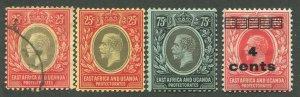 EAST AFRICA & UGANDA PROTECTORATES #60, 61, 62 MINT & USED
