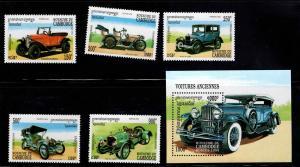 Cambodia Scott 1340-1345 MNH** Classic Automobile set & minisheet