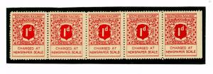 SS3306 1930 Southern Railway 1d Newspaper Stamp/Mint Strip of Five (5)