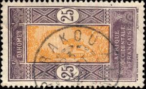 DAHOMEY - 1922 - CAD DOUBLE CERCLE PARAKOU / DAHOMEY SUR N°63