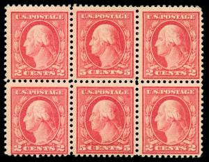 momen: US Stamps #505 Mint OG Bouble Error Block of 6