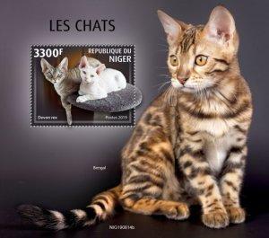 NIGER - 2019 - Cats - Perf Souv Sheet - MNH