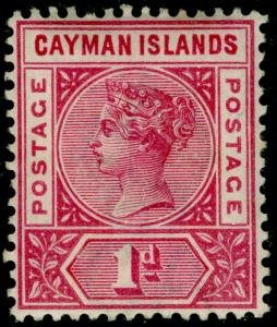 CAYMAN ISLANDS SG2, 1d rose-carmine, M MINT. Cat £15.