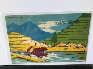 Burma vintage propaganda art postcard  Ref R28086