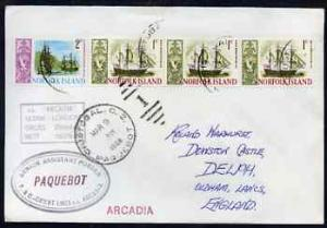 Norfolk Island used in Cristobal (Canal Zone) 1968 Paqueb...