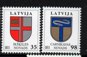 Latvia Sc 776-7 2011 Coats of Arms stamp set mint NH