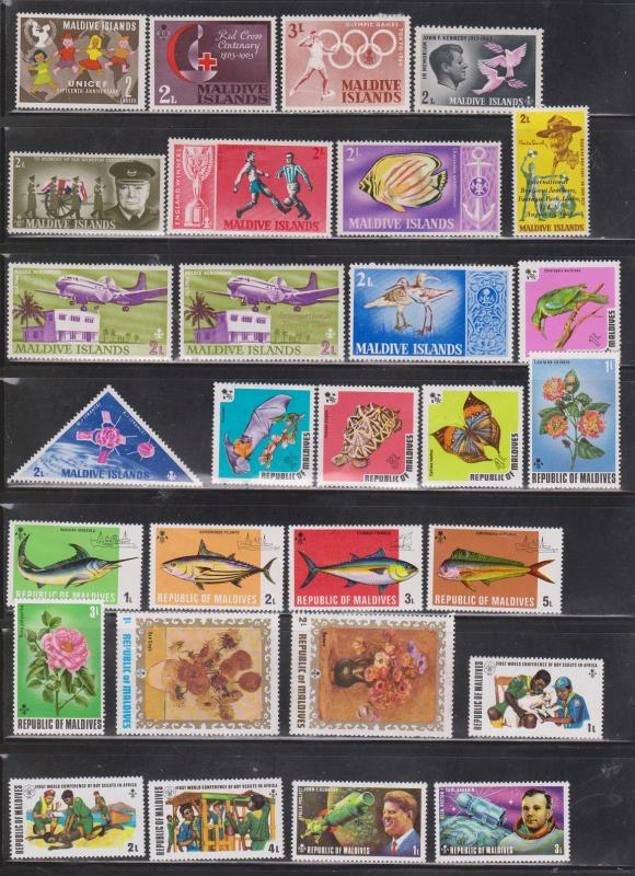 MALDIVE ISLANDS - Collection Of Mint Hinged Stamps - Some With Hinge Remnants
