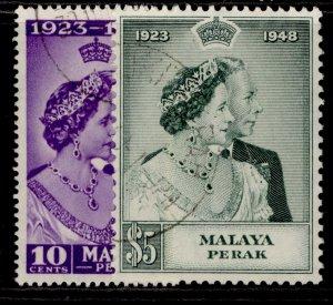 MALAYSIA - Perak GVI SG122-123, ROYAL SILVER WEDDING set, FINE USED. Cat £50.