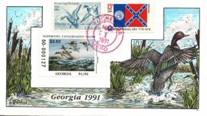 1991 Tucker Georgia USA Duck Stamp Milford Hand Painted First Day Cover