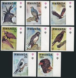 Rwanda 828-835 imperf,MNH.Mi 893B-900B,Birds of Prey,1977.Eagles,Vulture,Buzzard