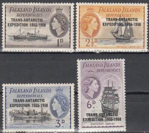 Falkland Islands, Sc # G41-G44, MH, 1956, Trans-Antarctic Expedition