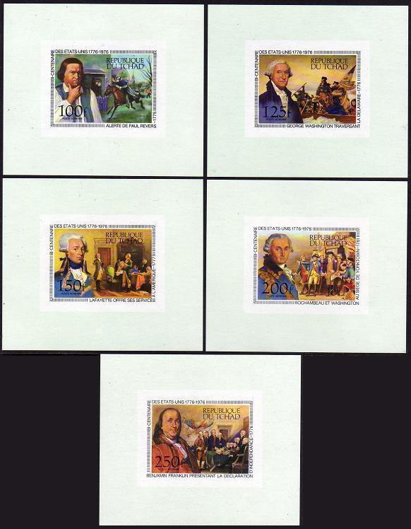 Chad C181-C185 deluxe sheets,MNH. USA-200,1976.Revere,Washington,Lafayette,
