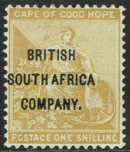RHODESIA 1896 OVERPRINTED CAPE HOPE 1/-