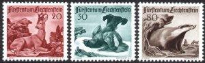 LIECHTENSTEIN-1950 Animals Set Sg 283-285 MOUNTED MINT V40537