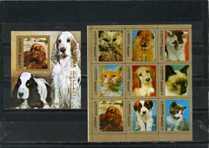 MANAMA 1972 Mi#944-H944A,Bl.183B DOGS & CATS SHEET OF 9 STAMPS & S/S MNH