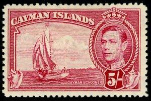 CAYMAN ISLANDS SG125, 5s carmine-lake, M MINT. Cat £42. P12½