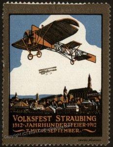 Germany 1912 Volksfest Straubing Original Luftpost Flight MNH Vignette C G102783