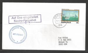 1988 Paquebot Cover, Bahamas stamp used in Bremen Germany