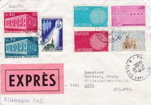 France 1971 Special Delivery Cover Franked with Europa Issues to Germany. VF