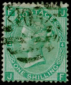SG117, 1s green plate 4, FINE USED. Cat £65. JF