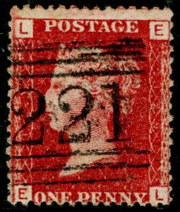 SG43, 1d rose-red PLATE 129, FINE USED. Cat £10. SCOTLAND. EL