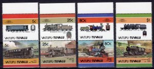 Tuvalu Vaitupu 1986 TRAINS LOCOMOTIVES (4) Pairs 8 values Perforated Mint (NH)