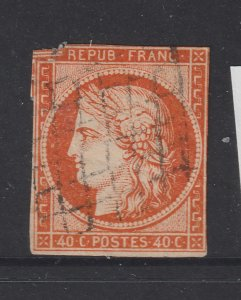 France a used imperf 40c Ceres