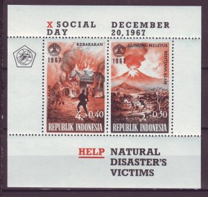 Z847 JLstamps 1967 indonesia s/s mnh #b210a natural disasters