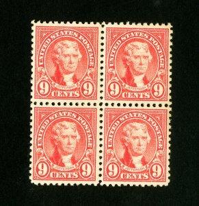 US Stamps # 561 XF OG NH Fresh Block 4