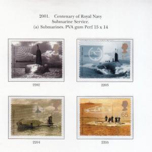 2001 ROYAL NAVY SUBMARINES SG2202-SG2205 FULL SET UMM/MNH BELOW FACE VALUE