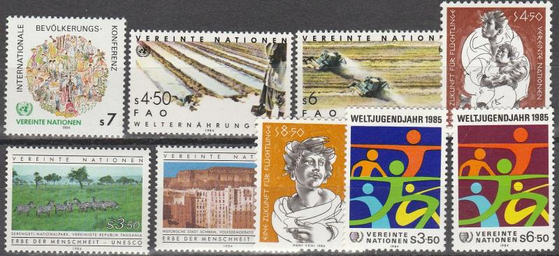 United Nations Vienna #39-47 MNH CV $6.05 (A15052)