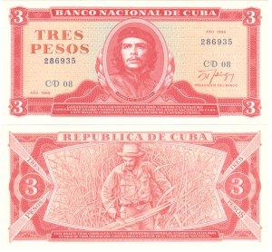 1988 Cuba Banknote Che Guevara 3 Pesos GEM UNC